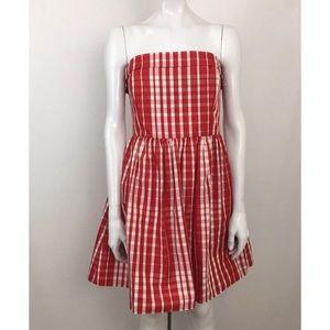 Vineyard Vines Red Gingham Fit & Flare Dress Sz 12